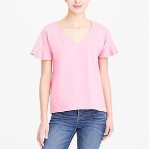 JCrew ivory flutter-sleeve v-neck t-shirt